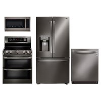 KIT LG 4 Piece Gas Kitchen Appliance Package with 22.7 cu. ft. Four Door Refrigerator - Black Stainless Steel