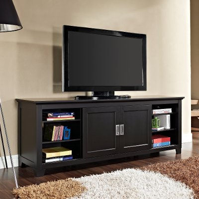Black TV Stand with Sliding Door 70 Inch RC Willey Furniture Store