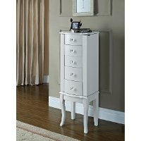 Contemporary White Jewelry Armoire