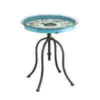 Metal and Glass Clock Accent Table