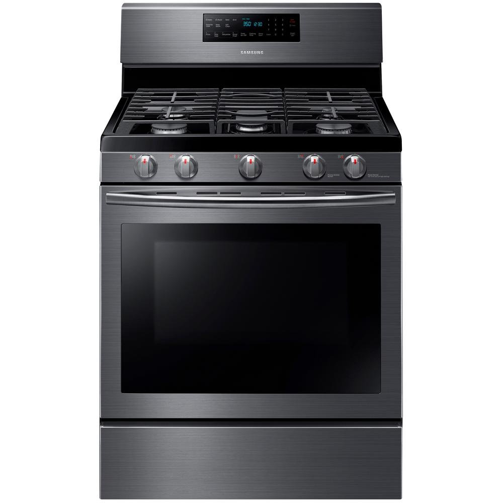 samsung black stainless steel gas kitchen appliance package | rc