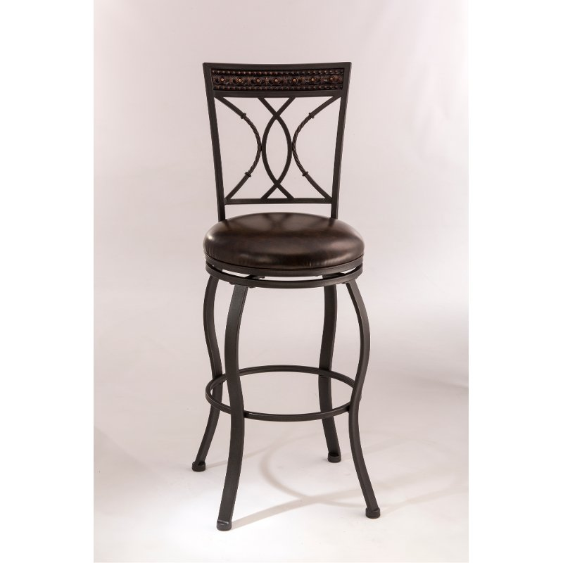 Traditional Black And Brown 30 Inch Swivel Bar Stool Kirkham