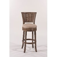 5681-830A Basket-Woven Gold Metallic Silver Bar Stool - Thredson