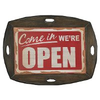 Vintage Open Sign Tray with 4 Cut Out Handles