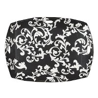 Black and White Vintage Art Tray with 4 Cut Out Handles