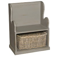 Graphite Entry Bench with Wicker Basket