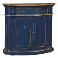 Navy Blue and Antique Oak Bow Front Side Board Cabinet