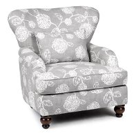 1418ADELESLATE Slate Gray Floral Accent Chair - Adele