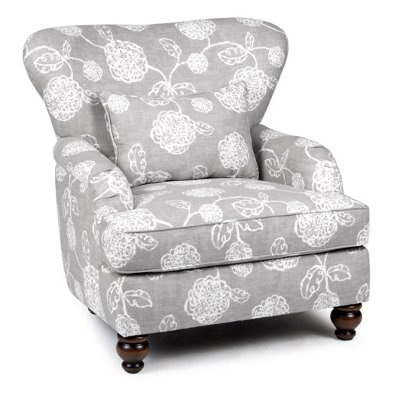 1418ADELESLATE Slate Gray Floral Accent Chair   Adele