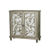 Scrolled Pewter 2 Door Wine Storage Console