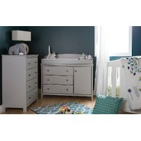 9020A2 Soft Gray Changing Table and 4- Drawer Chest - Cotton Candy