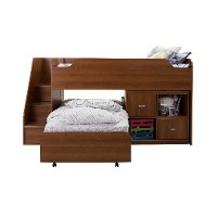 9055A3 Cherry Twin Loft Bed with Trundle and Storage Unit (39 Inch) - Mobby