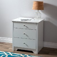 3150060 White Nightstand with Charging Station and Drawers - Vito