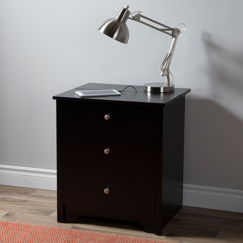 Black Nightstand with Charging Station with Drawers - Vito