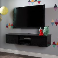 9030676 Black Oak Wall-Mounted Media Console (56 Inch) - Agora