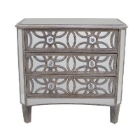 Natural and Mirrored 3 Drawer Cabinet with Crystal Knobs