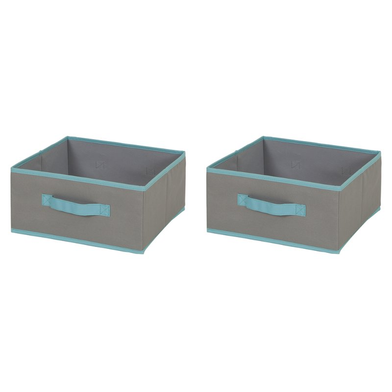 Gray and Turquoise Small Fabric Storage Bins (Set of 2) - Crea