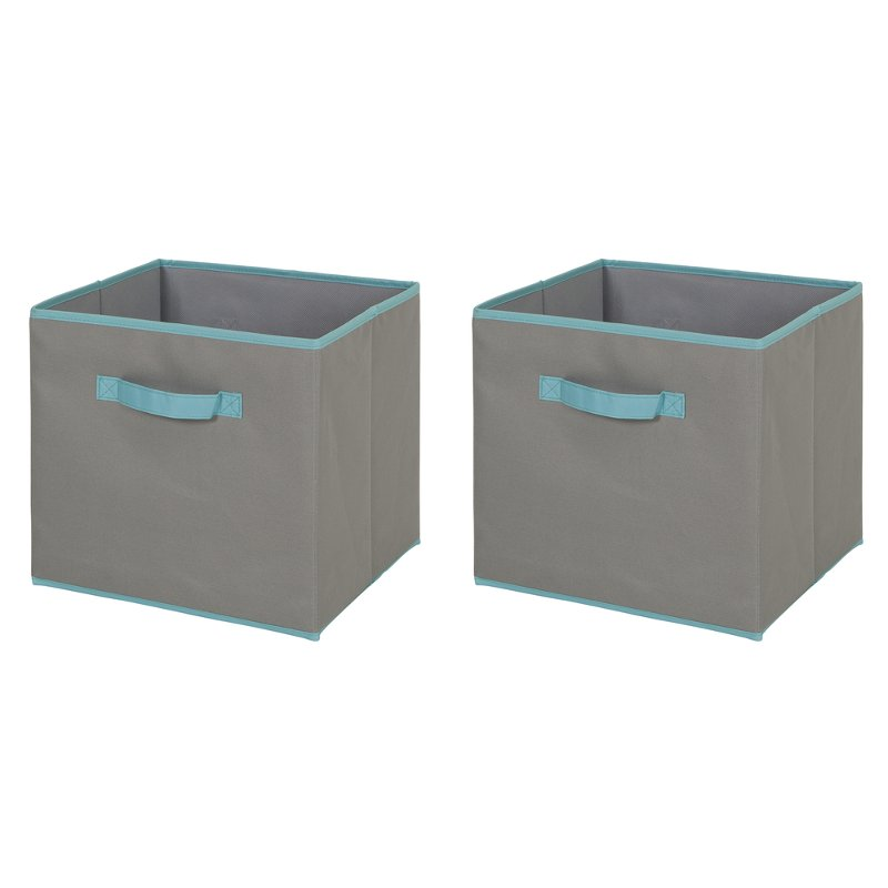 Gray and Turquoise Large Fabric Storage Bins (Set of 2) - Crea