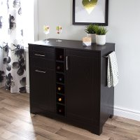 9043770 Black Oak Bar Cabinet with Bottle and Glass Storage - Vietti