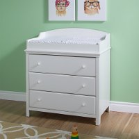 3250330 Pure White Changing Table with Drawers - Cotton Candy