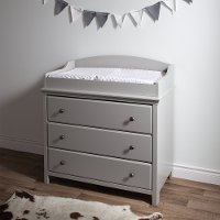 9020330 Soft Gray Changing Table with Drawers - Cotton Candy