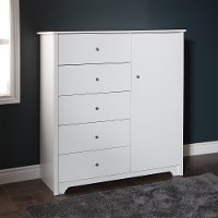 3150045 White 5-Drawer Door Chest of Drawers - Vito