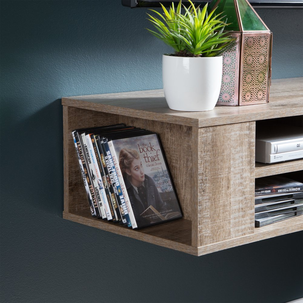 City Life Weathered Oak 66 Inch Wall Mounted Media Console | RC Willey  Furniture Store