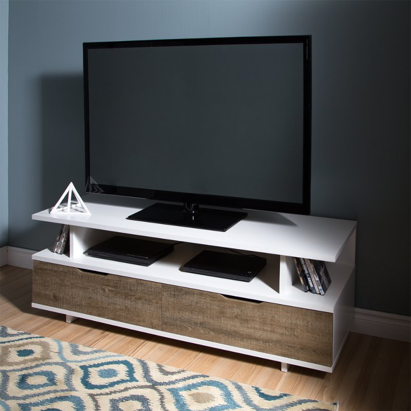 White Weathered Oak Tv Stand With Drawers Up To 60 Inches Reflekt Rc Willey Furniture