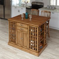 Oak Kitchen Island & 2 Counter Stools - Vintner