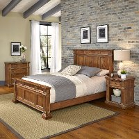 Vintage Natural Queen Bed, Nightstand & Chest - Americana