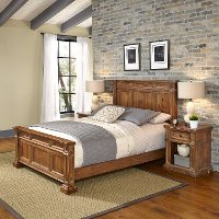 Natural Queen Bed and Nightstands - Americana