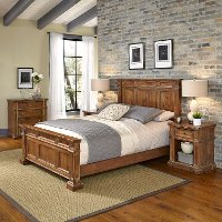 Vintage Natural Queen Bed, Nightstands and Chest - Americana