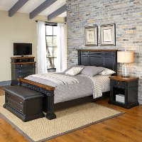 Black King Bed, Nightstand, Media Chest, & Bench - Americana