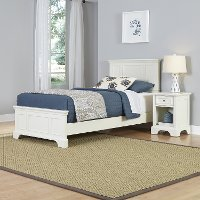 White Twin Bed and Nightstand - Naples