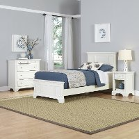 White Twin Bed, Nightstand, and Chest - Naples
