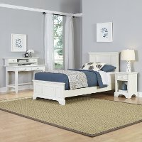 White Twin Bed, Nightstand & Student Desk with Hutch - Naples