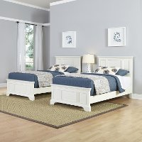 White Two Twin Beds and Nightstand - Naples