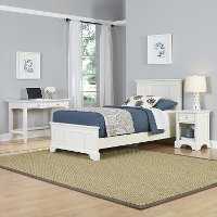 White Twin Bed, Nightstand & Student Desk - Naples