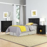 Black Twin Headboard, Nightstand & Chest - Bedford