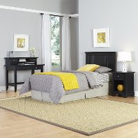 Black Twin Headboard, Nightstand & Student Desk with Hutch - Bedford