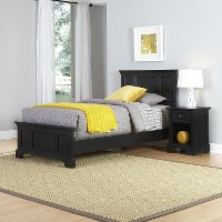 Black Twin Bed and Nightstand - Bedford