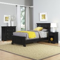 Black Twin Bed, Nightstand & Chest - Bedford