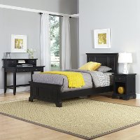 Black Twin Bed, Nightstand & Student Desk with Hutch - Bedford