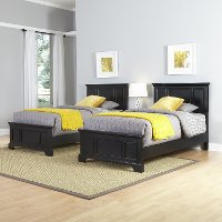 Black Two Twin Beds and Nightstand - Bedford