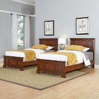 Cherry Two Twin Beds and Nightstand - Chesapeake