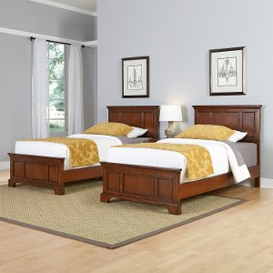 chesapeake cherry two twin beds and nightstand free shipping