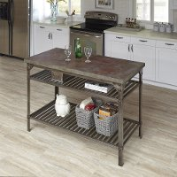 Aged Metal/Rust Colored Concrete Kitchen Island - Urban Style