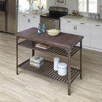 Aged Metal/Wine Colored Concrete Kitchen Island - Urban Style