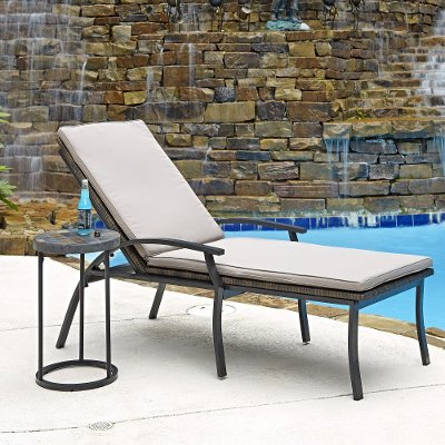 Black Chaise Outdoor Lounge Chair With Taupe Cushion   Laguna