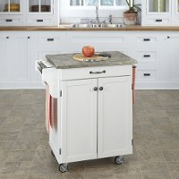 White Cuisine Cart with Concrete Top - Create-a-Cart